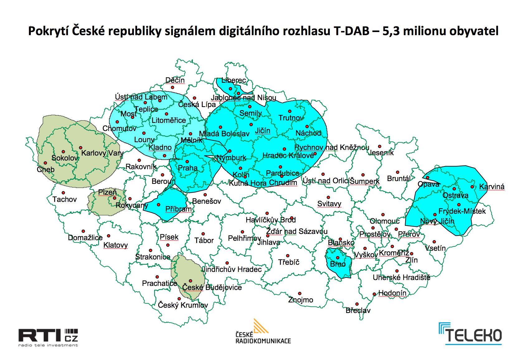 Pokrytí České republiky digitálním rozhlasovým signálem DAB